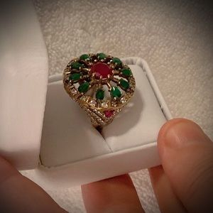 RUBY EMERALD RING Size 9.5 Solid 925 Silver/Gold